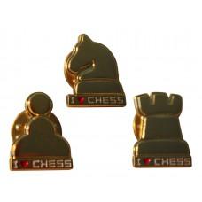 """Przypinki """"I LOVE CHESS"""" w kształcie figur - kolor złoty (A-70)"""