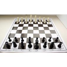 """10x Zestaw Szkolny I : Figury plastikowe turniejowe """"Staunton nr 4"""" z szachownicą zwijaną (Z-13)"""