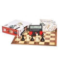 Zestaw DGT: Zegar DGT 960 kieszonkowy+ figury+ szachownica składana+program DGT Chess Trainer (Z-35/dgt)