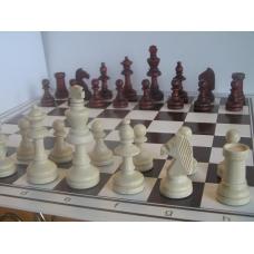 6x Zestaw Klubowy IV: Figury drewniane Staunton nr 5/II w worku + szachownica z tworzywa nr 5 składana na pół ( Z-10 )