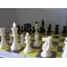 10x Zestaw Szkolny  IV: figury plastikowe Staunton nr 6 w woreczku + szachownica tekturowa (Z-11)