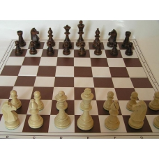 6x ZESTAW: Figury drewniane Staunton nr 6 w wor + Szachownica z tworzywa nr 5 składana na dwa ( Z-12 )