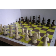 10x Zestaw Szkolny V: Figury szachowe Staunton nr 5/II w worku + Szachownica z tektury ( Z-19 )