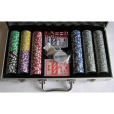 ZESTAW: 300 żetonów z nominałem do pokera + karty + kości do gry ( PK-2 )