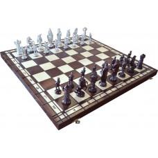 Szachy średniowieczne srebrne na wypalanej szachownicy (S-169)