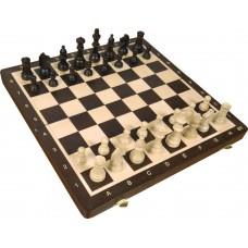 Szachy drewniane magnetyczne rozmiar turniejowy nr 4  - Wenge intarsja(S-175)