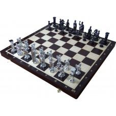 Szachy rzymskie srebrne na szachownicy WENGE (S-179)
