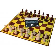 6 x Zestaw Klubowy Profi II: Zegar DGT Easy, szachownica tekturowa, figury drewniane STAUNTON nr 5 (ZK-PROFI3)