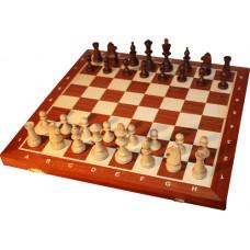 Szachy turniejowe składane nr 5 mahoń intarsja (S-12)