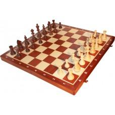Szachy turniejowe składane nr 6 mahoń intarsja (S-16)