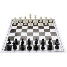 """10x Zestaw Szkolny II  : Figury plastikowe turniejowe """"Staunton nr 6"""" z szachownicą zwijaną (Z-6)"""