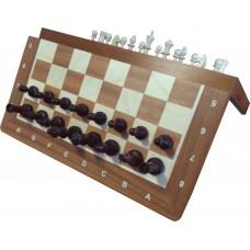 Szachy drewniane magnetyczne duże - Mahoń intarsja (S-140/F)
