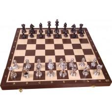 Szachy turniejowe składane nr 6 - SREBRNE / WENGE intarsja (S-176)
