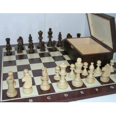 Zestaw: Figury szachowe Staunton nr 5 w kasetce + szachownica drewniana nr 5 TOGO